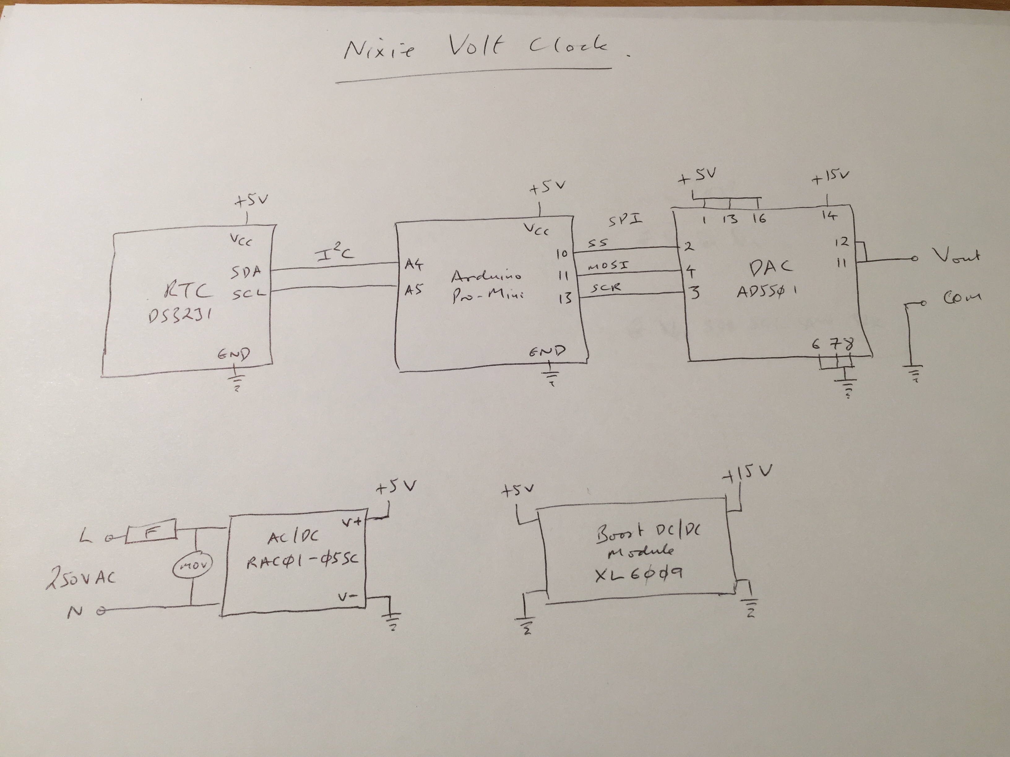 Nixie Voltmeter Clock Ynformatics Schematic Each Minute On The Display Corresponds To 10mv So Dac Must Be At Least This Resolution I Used An Ad5501 Which Has 12bit And Can Work Up